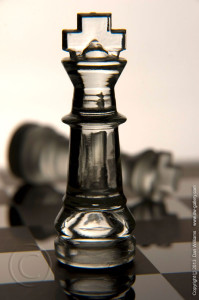 Photo of glass chess pieces
