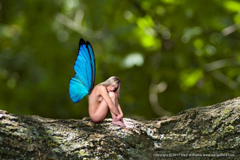 Fantasy Art- Image of butterfly girl with link to DeviantArt Gallery
